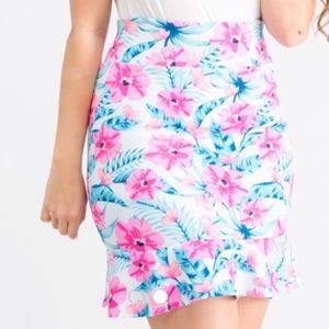 Agnes & Dora Pencil Skirt - Blue & Floral - Medium